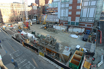 BIDMC's New Inpatient building site from the corner of Brookline Avenue and Francis Street.