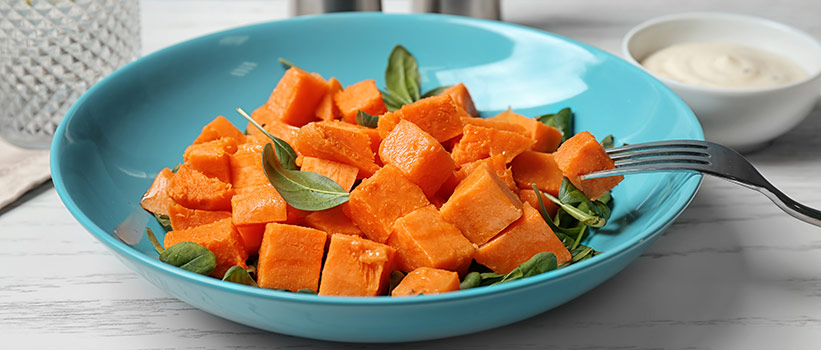 dish of cooked sweet potatoes