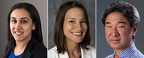 Cardiologists (L-R) Aarti Asnani, MD, Loryn Feinberg, MD, and James Chang, MD