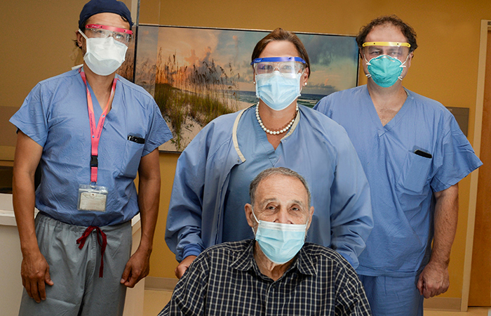 BIDMC patient Tom Marchese with the Structural Heart Center Surgery team.