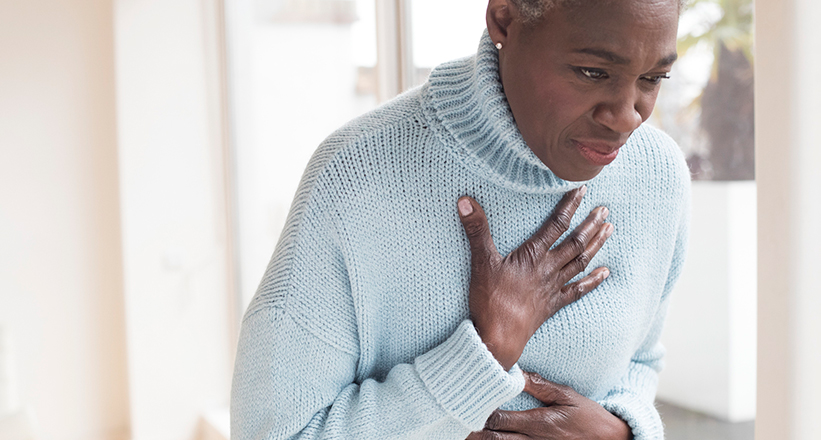 Woman Having a Panic Attack or Heart Attack