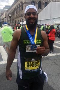 Derron after running the Boston Marathon