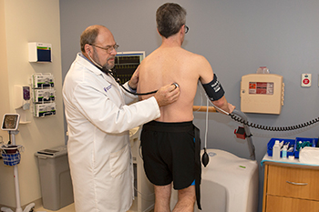 Patient undergoing testing in the Cardiac Direct Access Unit