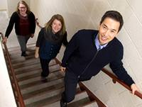 Robert Yeh, MD, MPH, climbing the stairs with colleagues