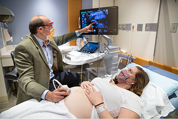 Patient undergoes prenatal ultrasound with BIDMC OBGYN physician.