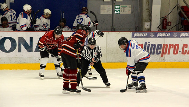 BIDMC patient Simon Thomas, far right, competing in a 2018 European hockey tournament
