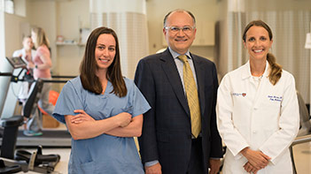Members of BIDMC's Spine Center (Left to Right): Efstathios Papavassiliou, MD, Heather Pisipia, NP, and Renee A. Moran, DO