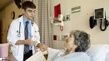 Medical resident visiting hospital inpatient
