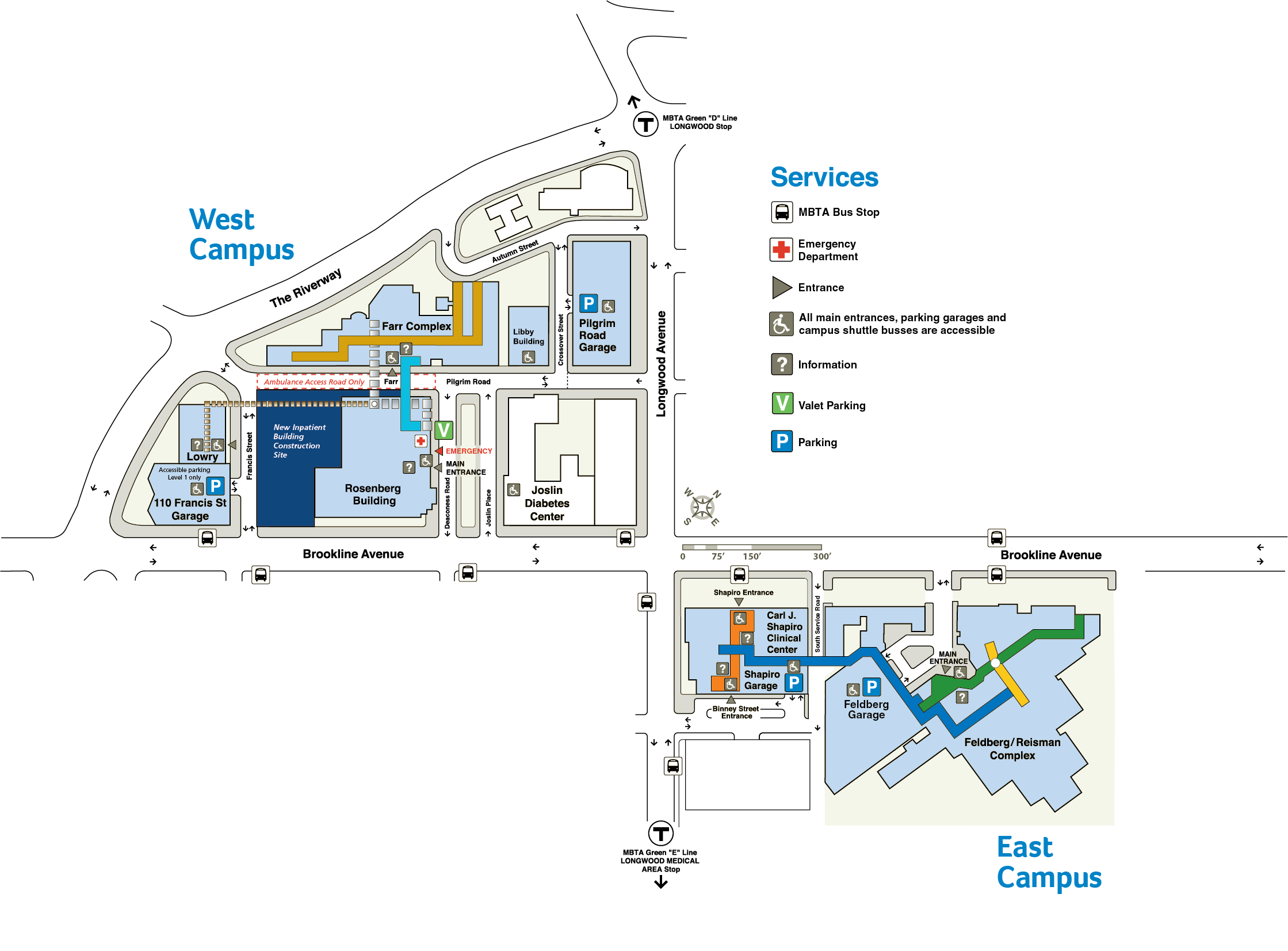 BIDMC West and East Campus Map Image