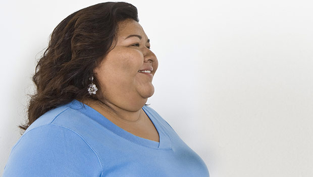 overweight woman smiling